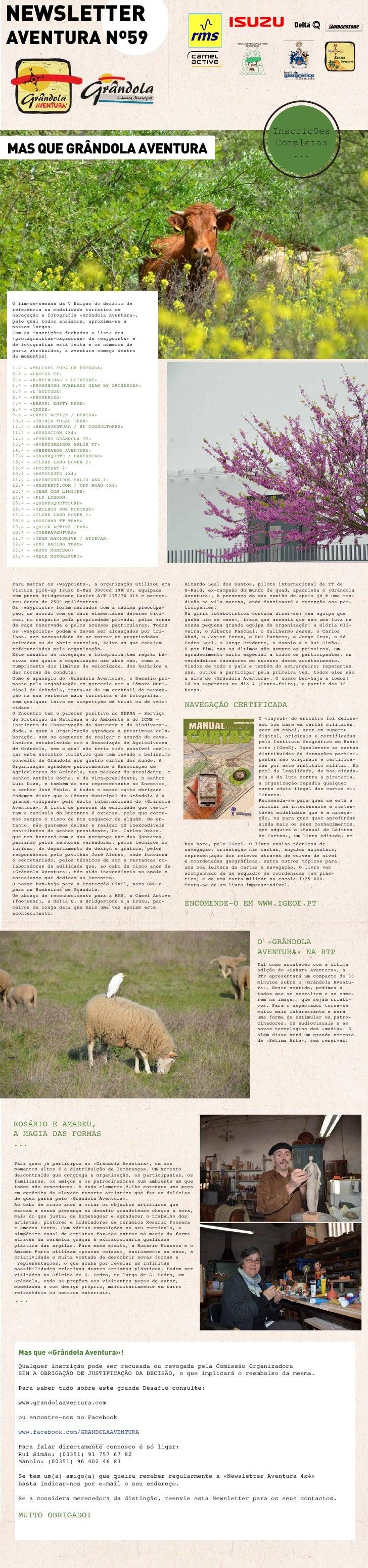 NEWSLETTERAVENTURA Nº59                                                                                        Inscrições ...