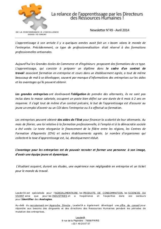 Newsletter Avril 2014 La Relance De Lapprentissage Par