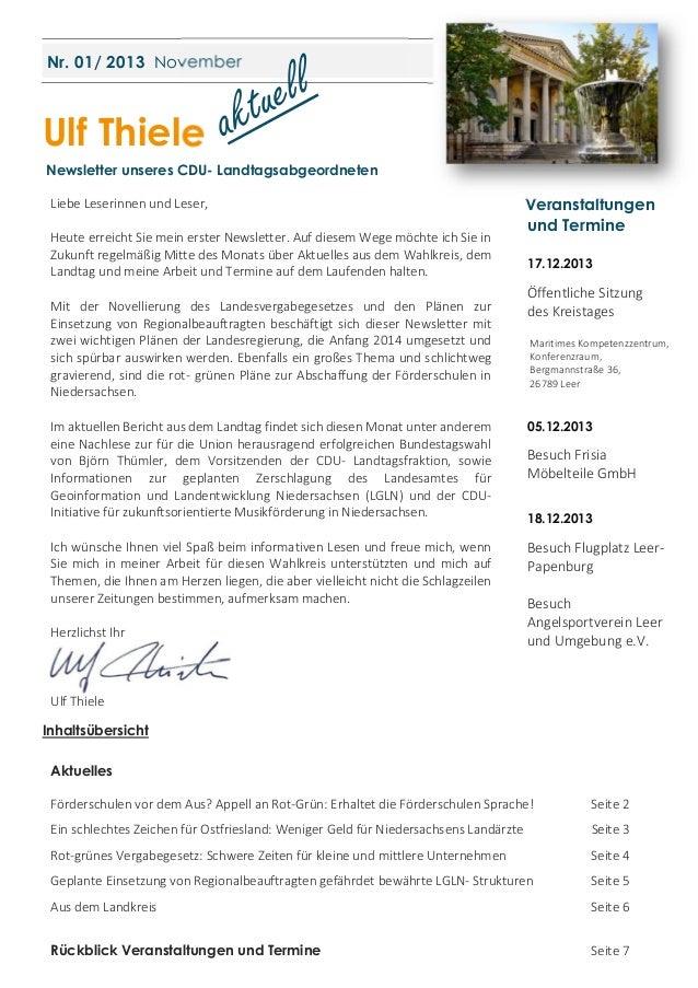 Nr. 01/ 2013 November  Ulf Thiele Newsletter unseres CDU- Landtagsabgeordneten Liebe Leserinnen und Leser, Heute erreicht ...