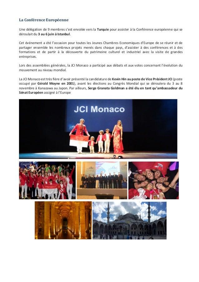 JeuneChambreEconomiquedeMonaco-Newsletterbiannuelle-juillet2015  11 LaConférenceEuropéenne  Unedélégati...