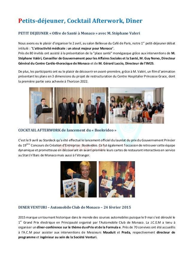 JeuneChambreEconomiquedeMonaco-Newsletterbiannuelle-juillet2015  5 Petits-déjeuner,CocktailAfterwork,Dîner...