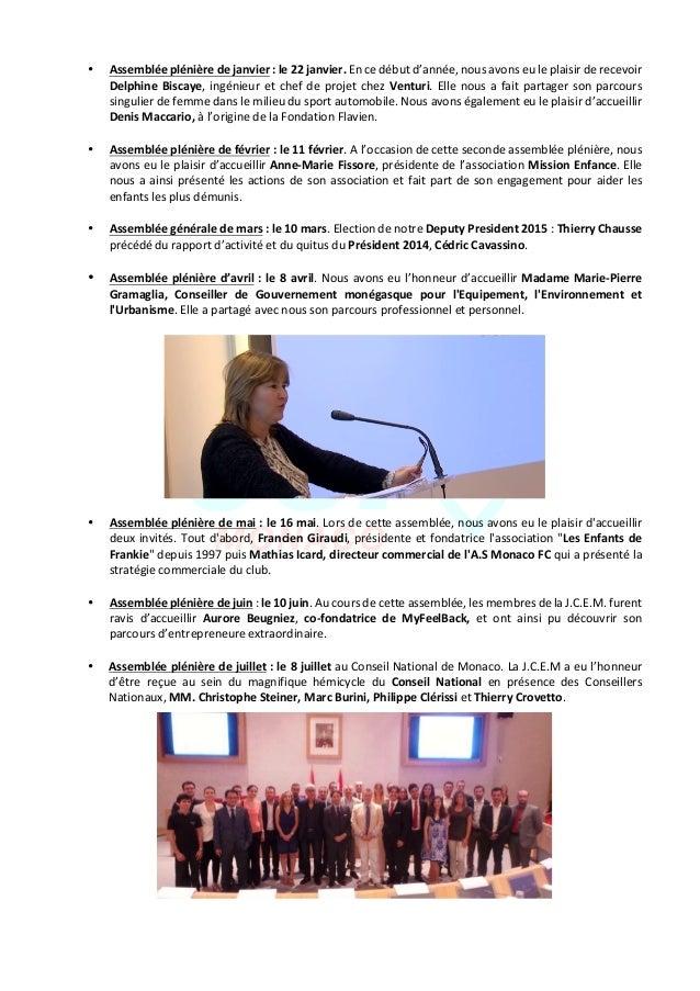 JeuneChambreEconomiquedeMonaco-Newsletterbiannuelle-juillet2015  7 • Assembléeplénièredejanvier:le22ja...