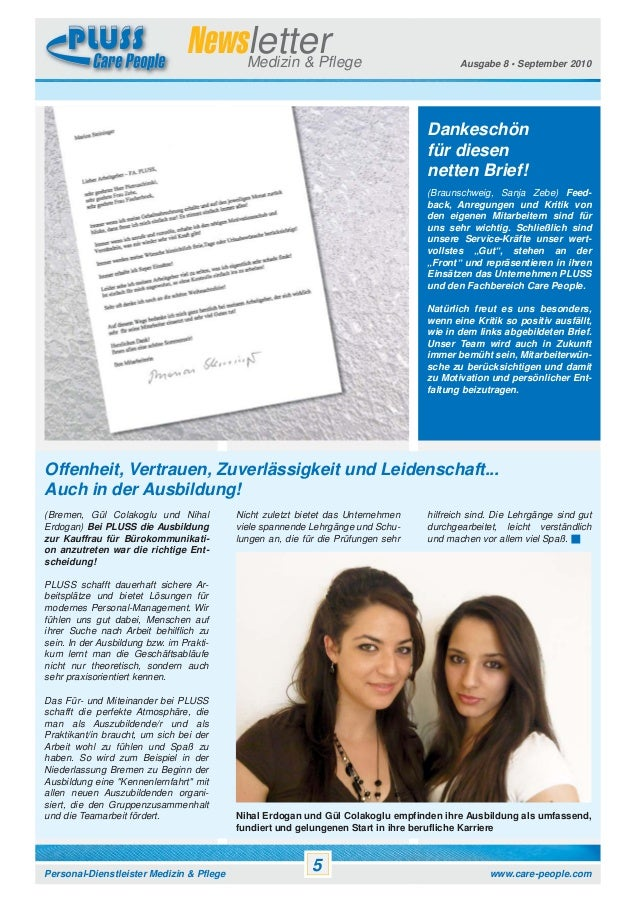 Newsletter Medizin & Pflege  Ausgabe 8 • September 2010  Dankeschön für diesen netten Brief! (Braunschweig, Sanja Zebe) Fe...