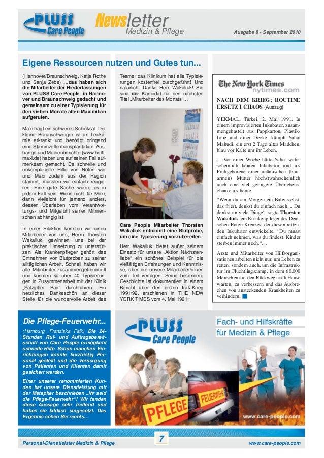 Newsletter Medizin & Pflege  Ausgabe 8 • September 2010  Eigene Ressourcen nutzen und Gutes tun... (Hannover/Braunschweig,...