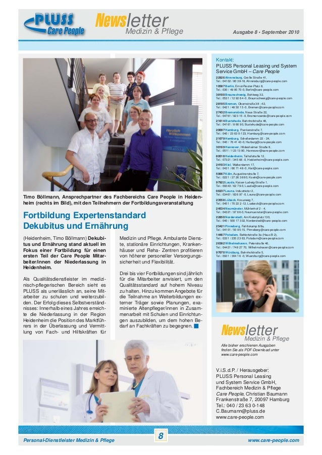 Newsletter Medizin & Pflege  Ausgabe 8 • September 2010  Kontakt: PLUSS Personal Leasing und System Service GmbH – Care Pe...