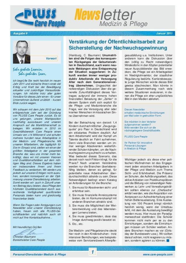 Newsletter Medizin & Pflege Januar 2011  Ausgabe 9  Verstärkung der Öffentlichkeitsarbeit zur Sicherstellung der Nachwuchs...