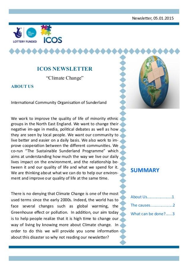 "Newsletter, 05.01.2015 ICOS NEWSLETTER ""Climate Change"" ABOUT US International Community Organisation of Sunderland We wor..."