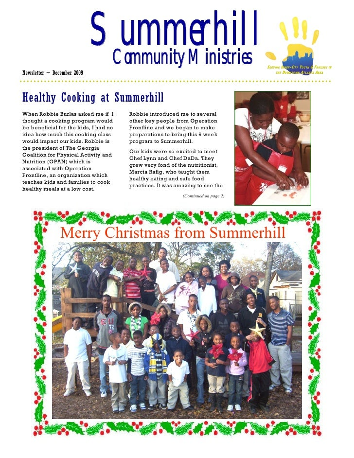 Summerhill                               Community Ministries                                 SERVING INNER-CITY YOUTH & F...