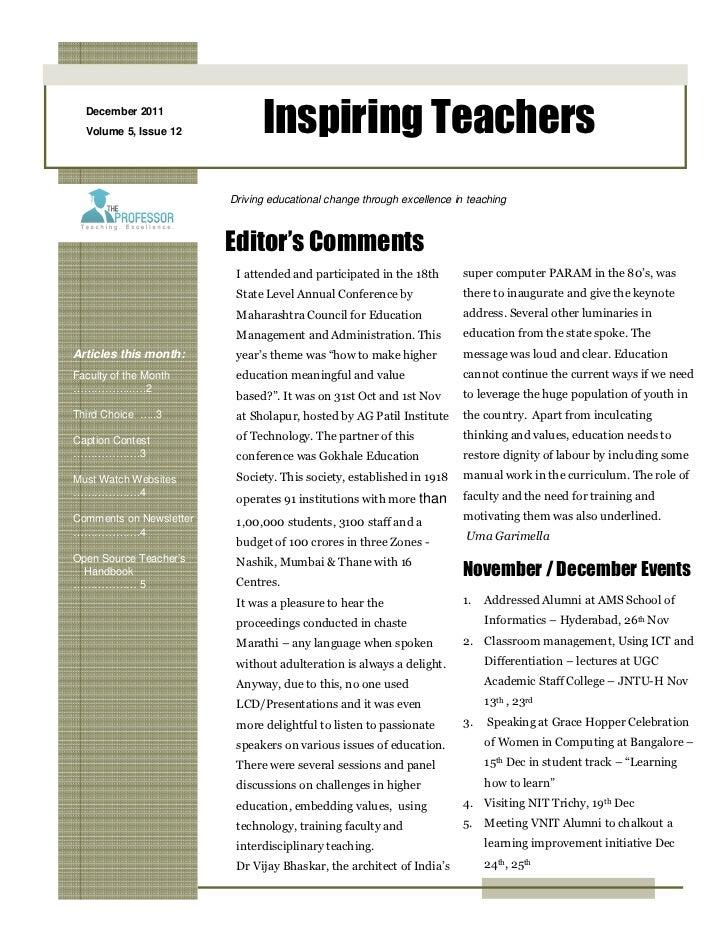 December 2011  Volume 5, Issue 12           Inspiring Teachers                         Driving educational change through ...
