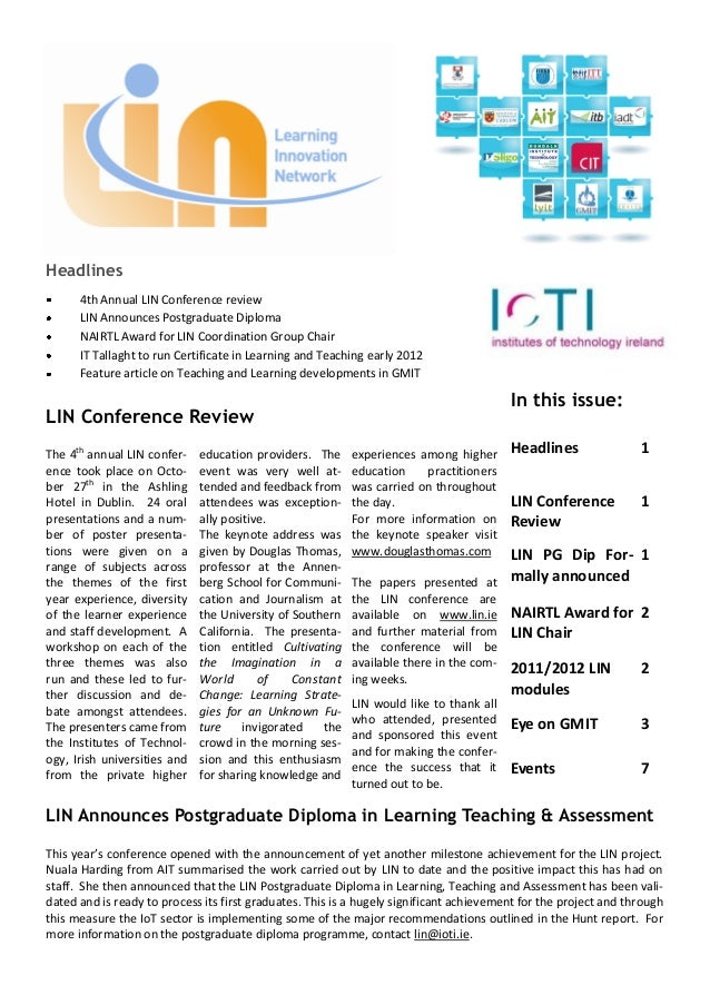 Headlines      4th Annual LIN Conference review      LIN Announces Postgraduate Diploma      NAIRTL Award for LIN Coordina...