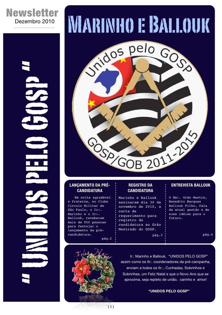 """Newsletter  Dezembro 2010                        Marinho e Ballouk """" Unidos pelo Gosp """"                        LANÇAMENTO ..."""