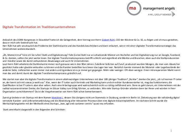 Digitale Transformation im Traditionsunternehmen Anlässlich des DDIM-Kongresses in Düsseldorf hatte ich die Gelegenheit, d...