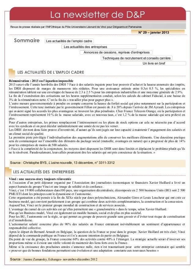La newsletter de D&P Revue de presse réalisée par l'INFOthèque du Pôle Universitaire Léonard de Vinci pour Dirigeants et P...