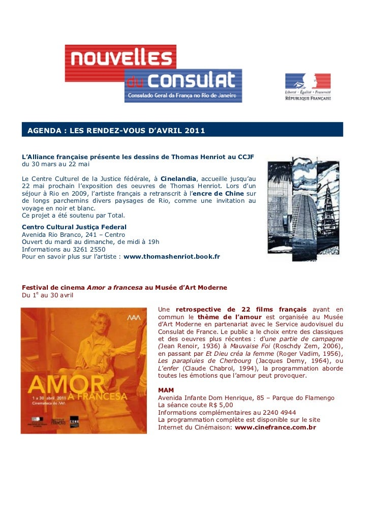 AGENDA : LES RENDEZ-VOUS D'AVRIL 2011L'Alliance française présente les dessins de Thomas Henriot au CCJFdu 30 mars au 22 m...