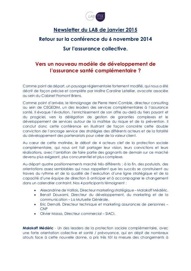 Newsletter du LAB de janvier 2015 Retour sur la conférence du 6 novembre 2014 Sur l'assurance collective. Vers un nouveau ...