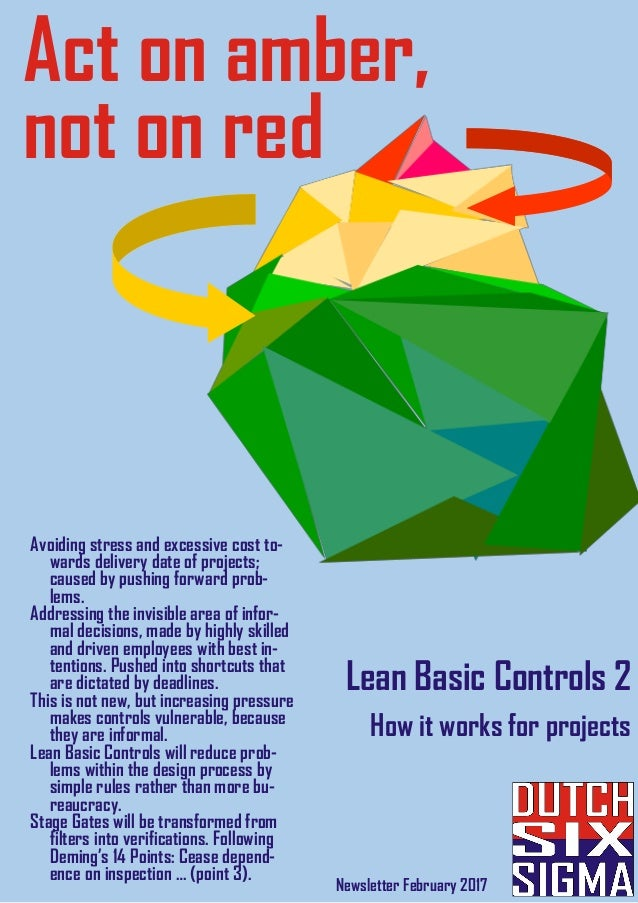Act on amber, not on red Newsletter February 2017 Lean Basic Controls 2 How it works for projects Avoiding stress and exce...