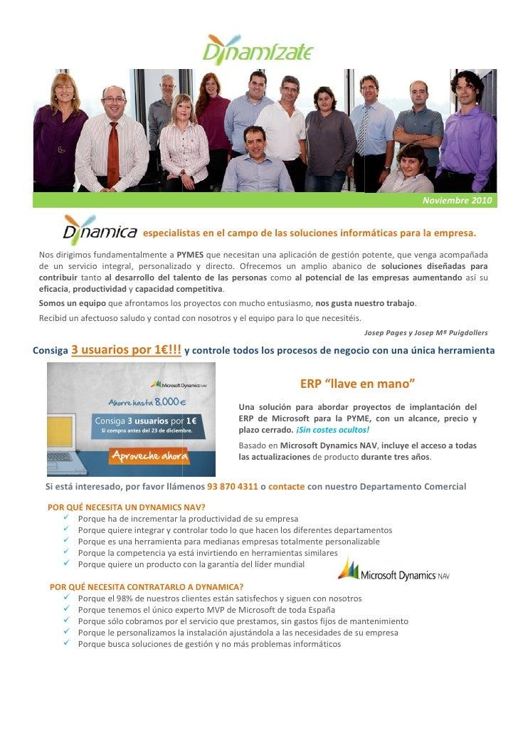 La Newsletter de Dynamica                                        Noviembre 2010                          , especialistas e...