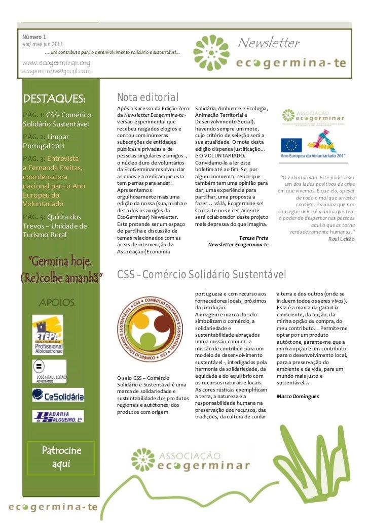 Número 1abr/ mai/ jun 2011         … um contributo para o desenvolvimento solidário e sustentável…                        ...