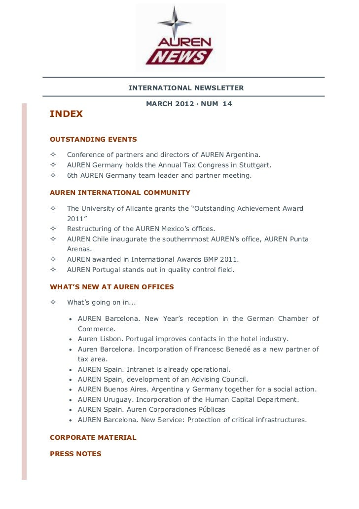 INTERNATIONAL NEWSLETTER                           MARCH 2012 · NUM 14INDEXOUTSTANDING EVENTS   Conference of partners and...