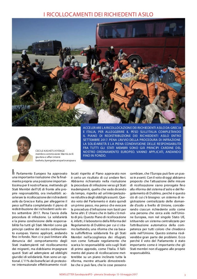 I RICOLLOCAMENTI DEI RICHIEDENTI ASILO ACCELERARE LA RICOLLOCAZIONE DEI RICHIEDENTI ASILO DA GRECIA E ITALIA, PER ALLEGGER...