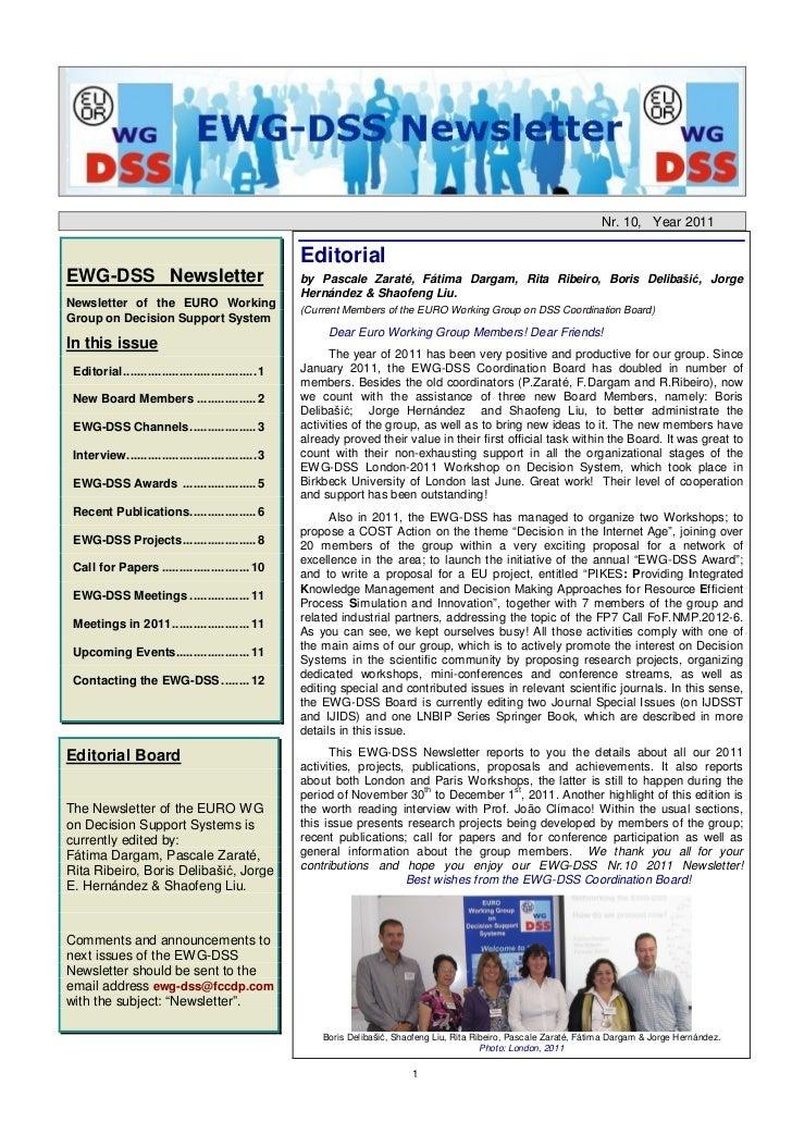 Nr. 10, Year 2011                                                    EditorialEWG-DSS Newsletter                          ...