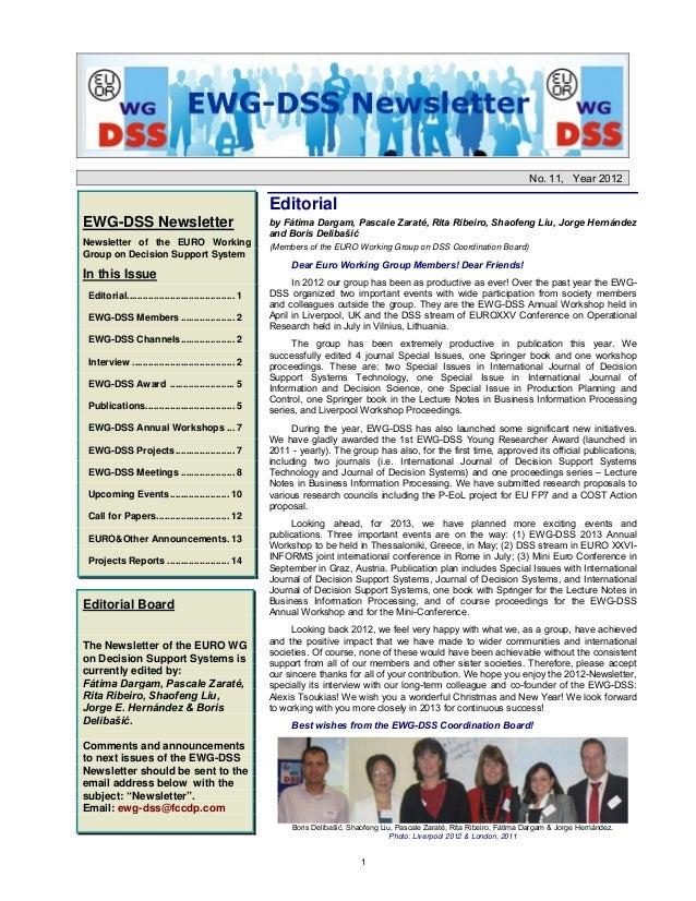 No. 11, Year 2012                                                       EditorialEWG-DSS Newsletter                       ...