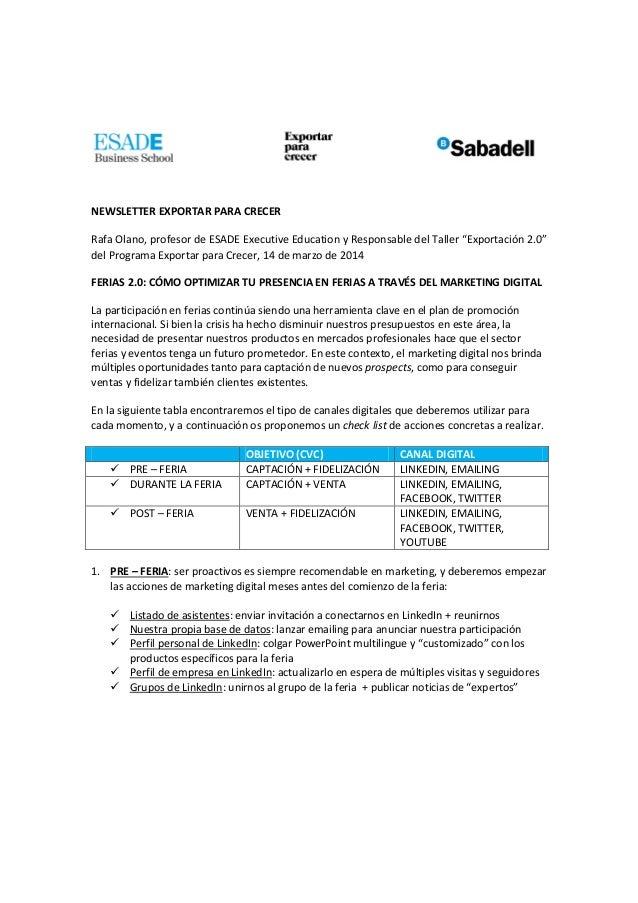 """NEWSLETTER EXPORTAR PARA CRECER Rafa Olano, profesor de ESADE Executive Education y Responsable del Taller """"Exportación 2...."""