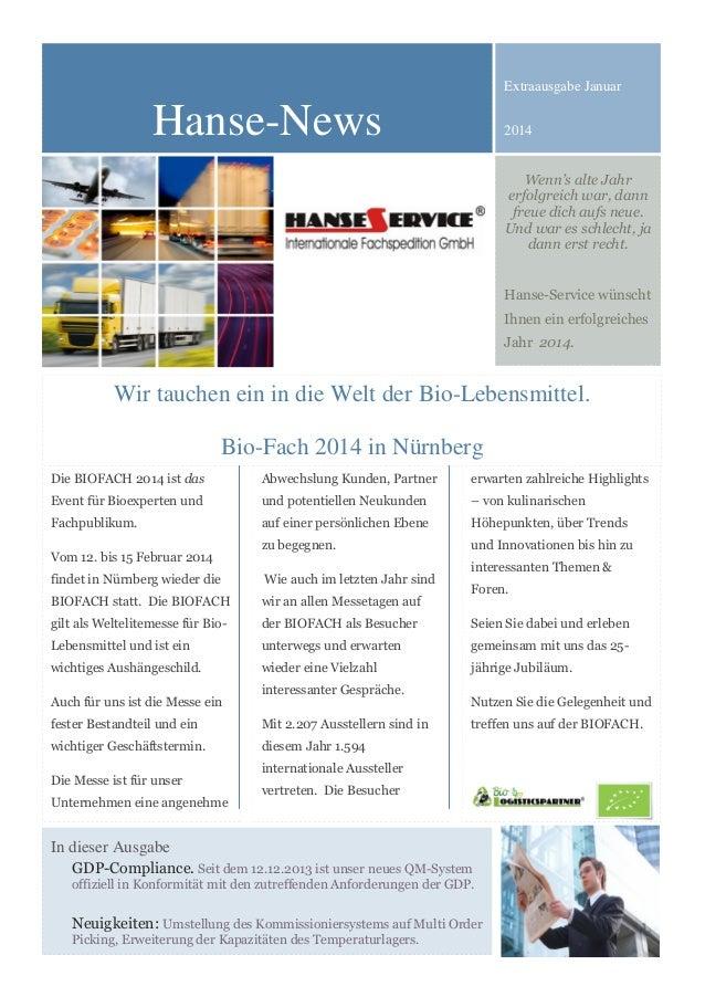 Extraausgabe Januar  Hanse-News  2014 Wenn's alte Jahr erfolgreich war, dann freue dich aufs neue. Und war es schlecht, ja...