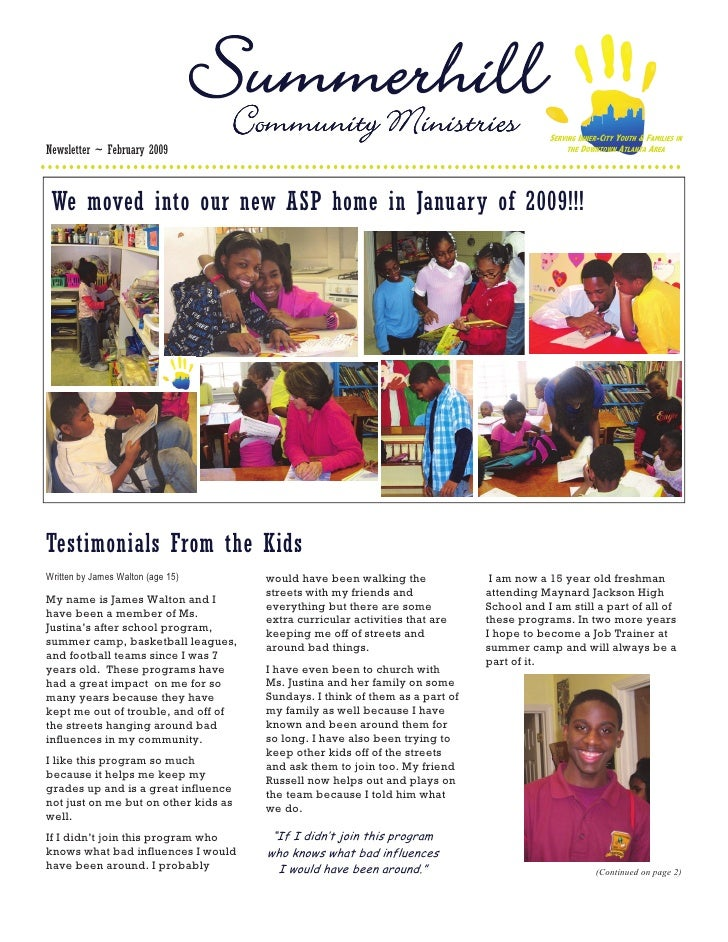 Community Ministries                                   SERVING INNER-CITY YOUTH & FAMILIES IN Newsletter ~ February 2009  ...
