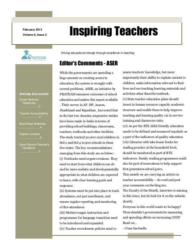 February 2012 Volume 6, Issue 2 Inspiring Teachers Articles this month: Gross National Happiness ……………..….2 Teacher Accoun...