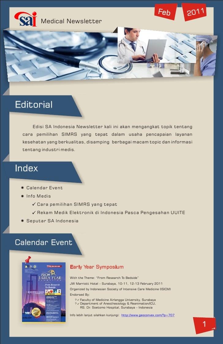 Feb        2011        Medical NewsletterEditorial     Edisi SA Indonesia Newsletter kali ini akan mengangkat topik tentan...