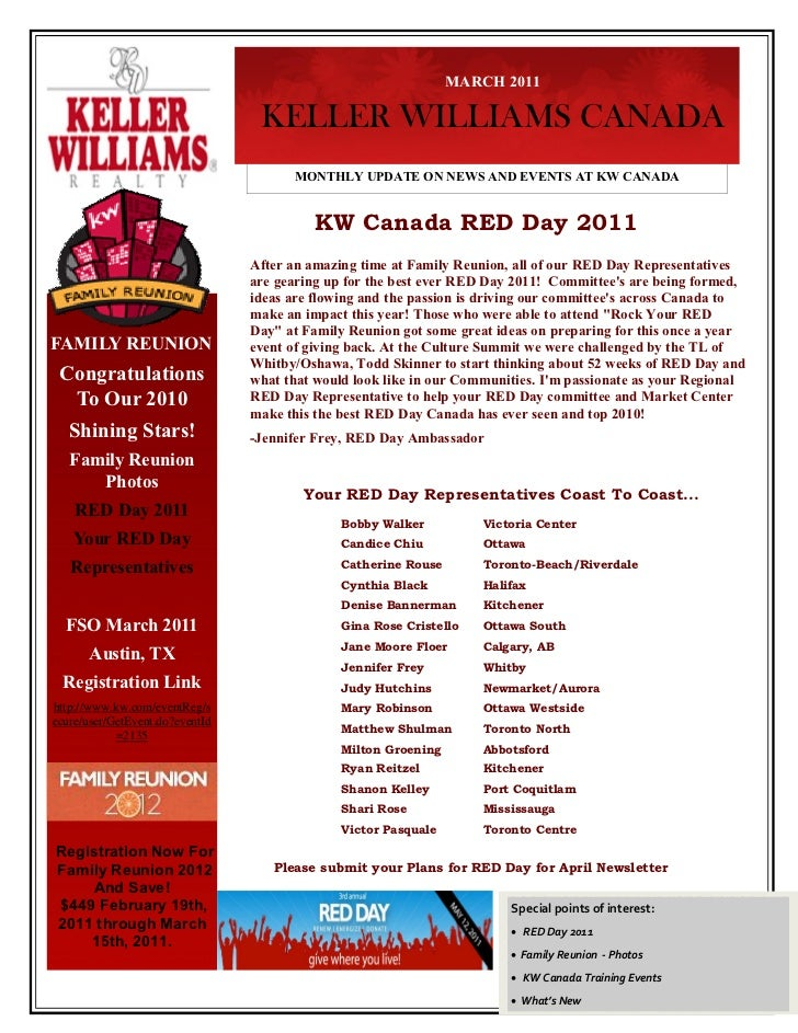 MARCH 2011                                  KELLER WILLIAMS CANADA                                       MONTHLY UPDATE ON...