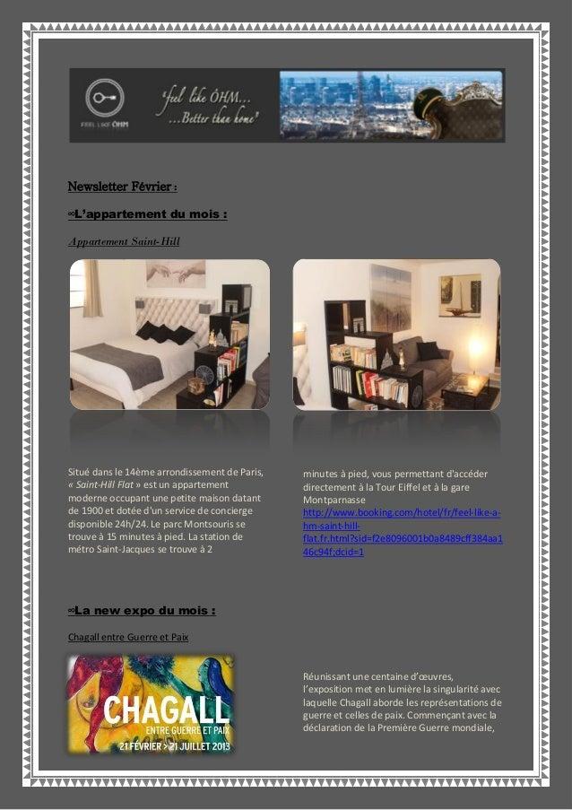 Newsletter Février :∞L'appartement du mois :Appartement Saint-HillSitué dans le 14ème arrondissement de Paris,« Saint-Hill...