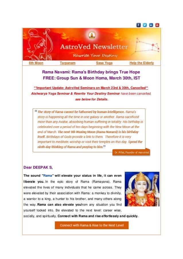 8th Moon Tarpanam Sasa Yoga Help the Elderly Rama Navami: Rama's Birthday brings True Hope FREE: Group Sun & Moon Homa, Ma...