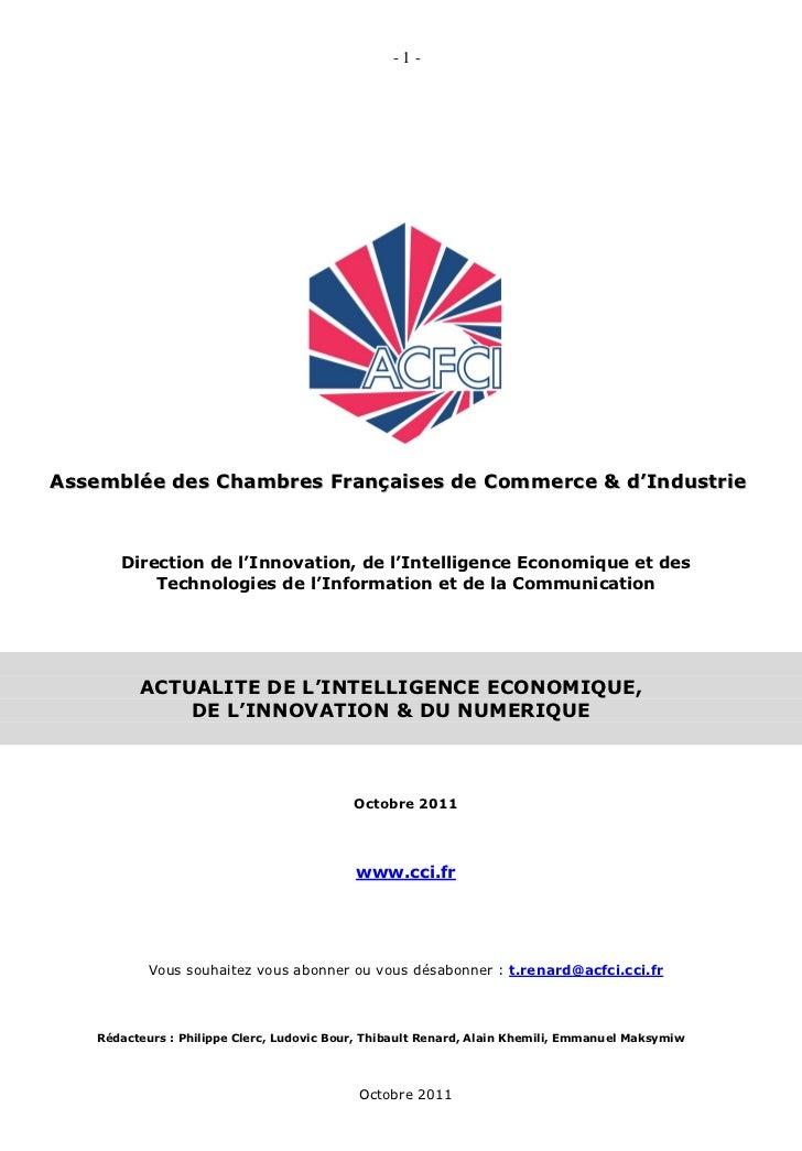 -1-Assemblée des Chambres Françaises de Commerce & d'Industrie      Direction de l'Innovation, de l'Intelligence Economiqu...