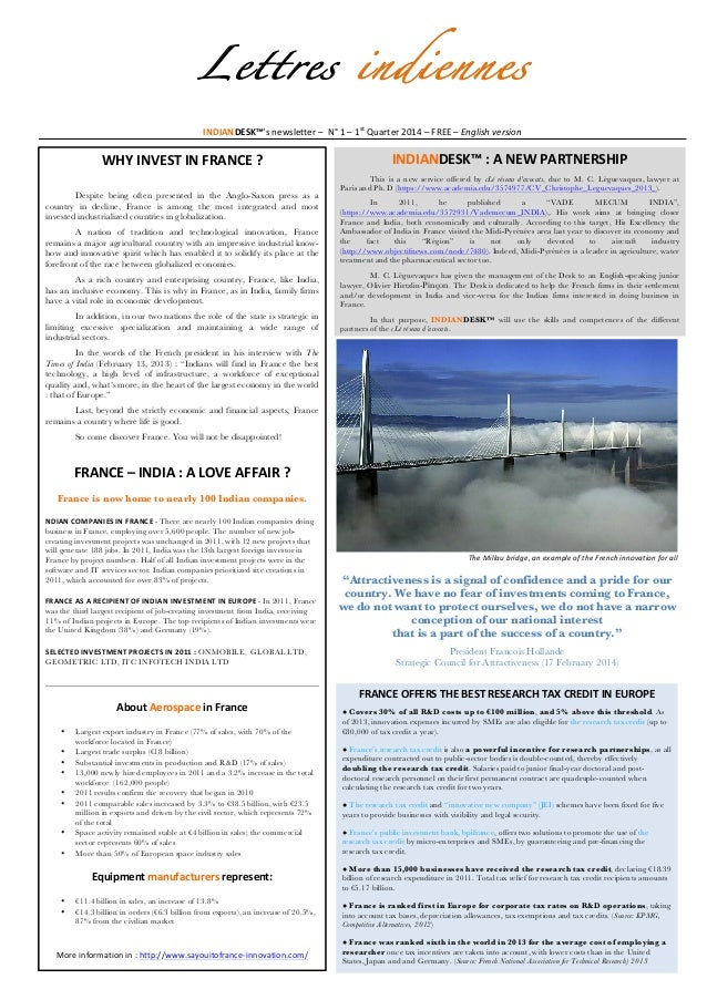 Lettres indiennes INDIANDESK™'s  newsletter  –    N°  1  –  1st  Quarter  2014  –  FREE  –  Engl...
