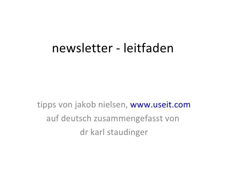 newsletter - leitfaden tipps von jakob nielsen,  www.useit.com auf deutsch zusammengefasst von  dr karl staudinger
