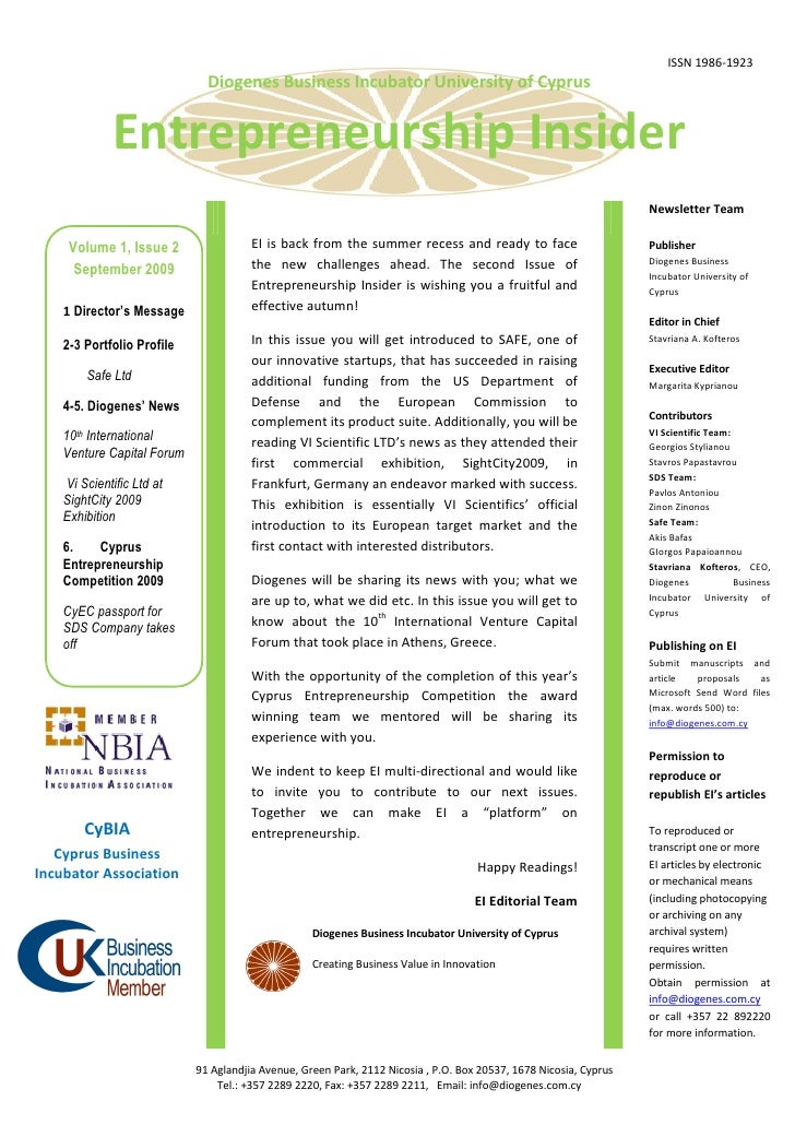 ISSN 1986-1923                               Diogenes Business Incubator University of Cyprus                  Entrepreneu...