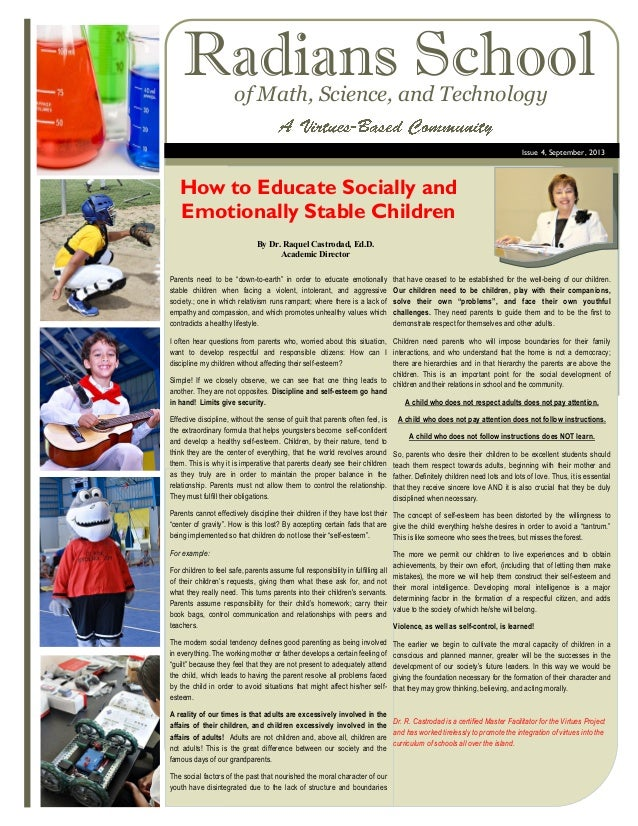 Radians School of Math, Science, and Technology  Issue 4, September, 2013  How to Educate Socially and Emotionally Stable ...