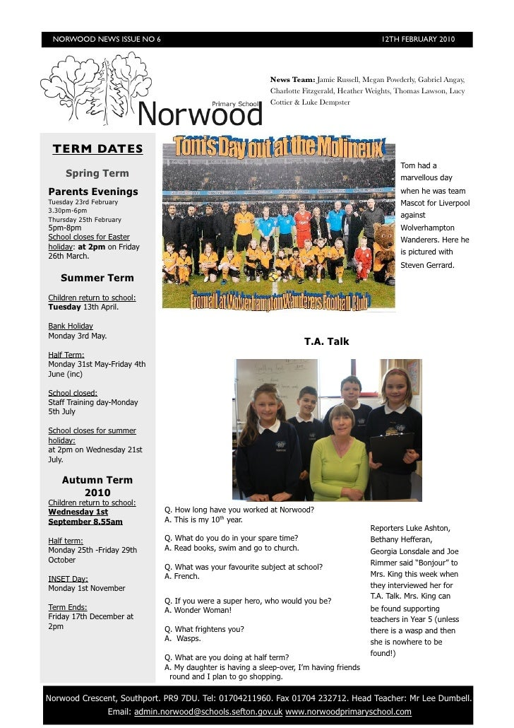 NORWOOD NEWS ISSUE NO 6                                                                      12TH FEBRUARY 2010           ...
