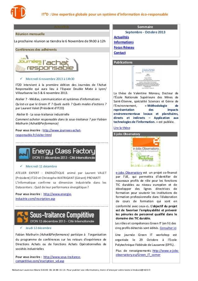 IT²D : Une expertise globale pour un système d'information éco-responsable Actualités Réunion mensuelle La prochaine réuni...