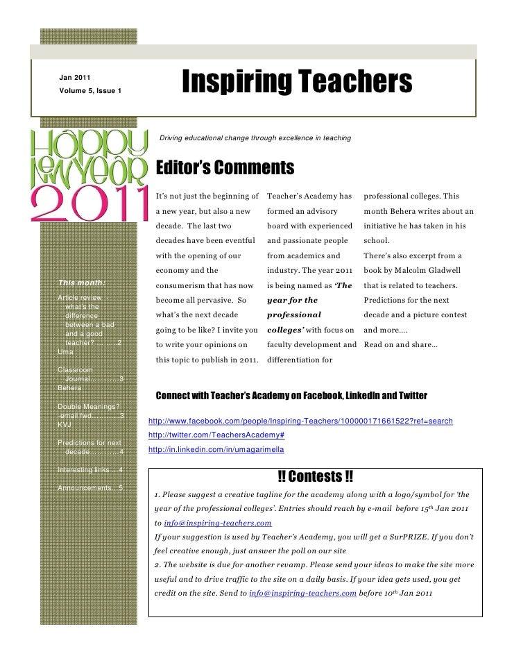 Inspiring Teachers Jan 2011