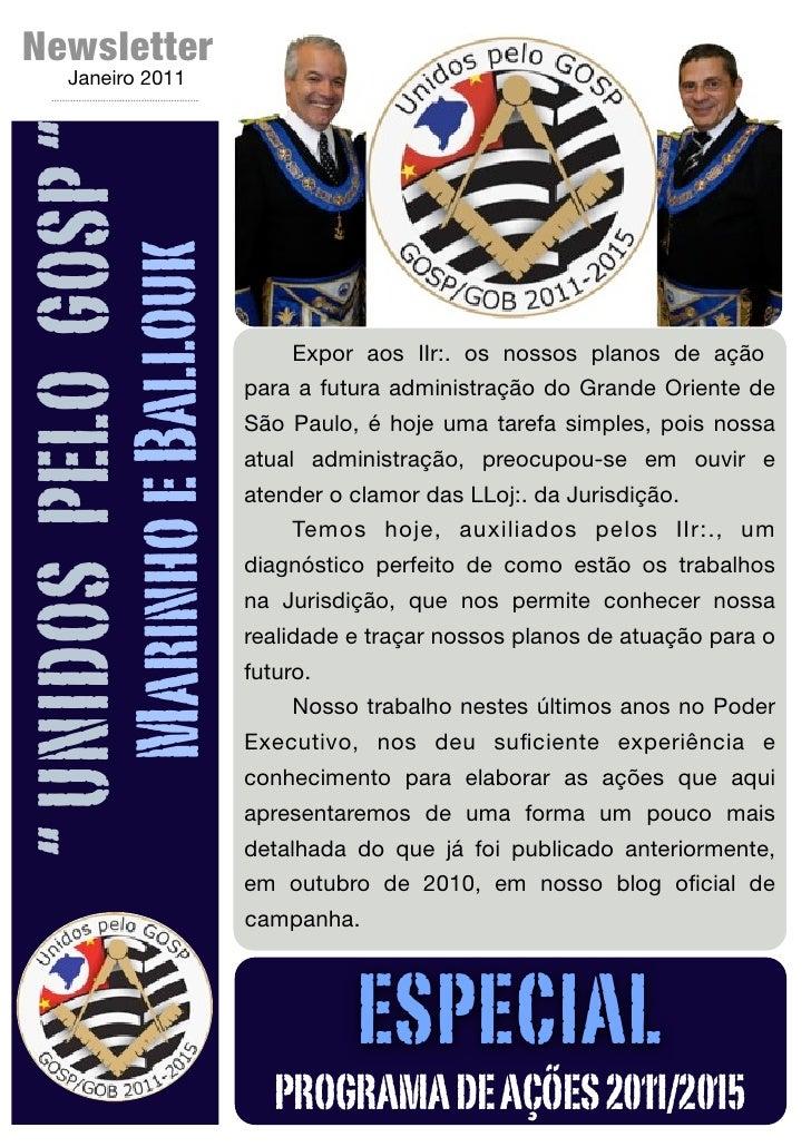 """Newsletter         Janeiro 2011"""" UNIDOS PELO GOSP """"                Marinho e Ballouk                                      ..."""