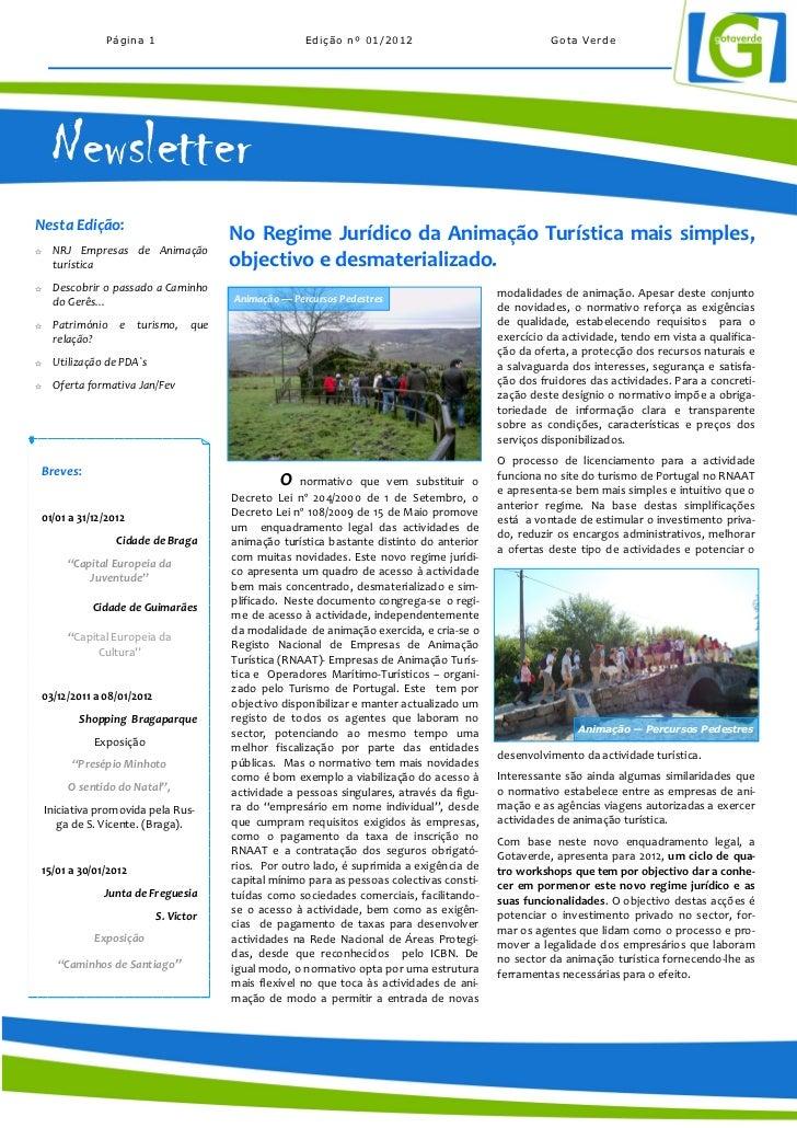 Página 1                               Edição nº 01/2012                               Gota Verde      NewsletterNesta Edi...