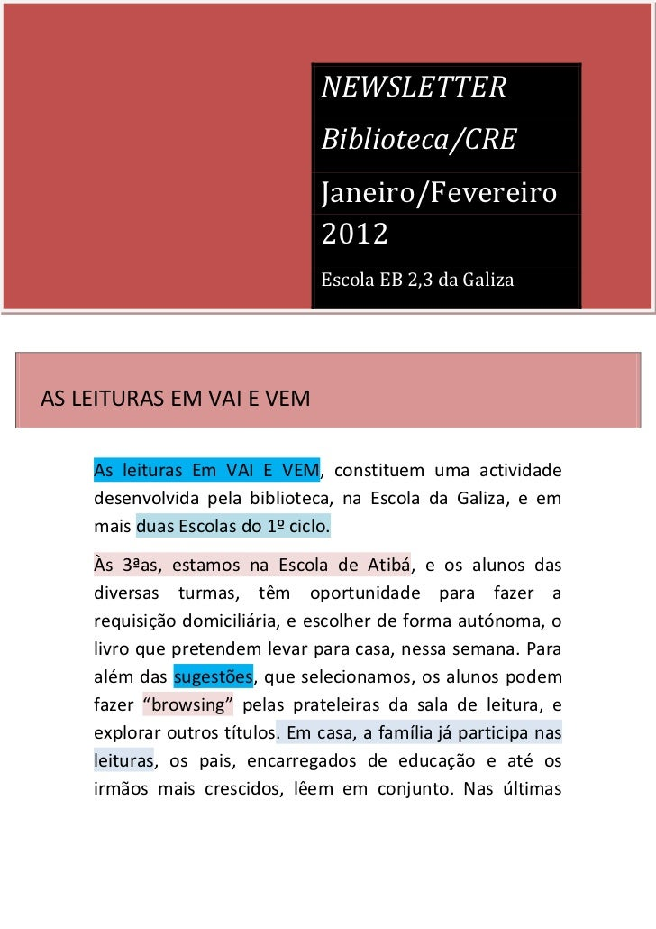 NEWSLETTER                                 Biblioteca/CRE                                 Janeiro/Fevereiro               ...