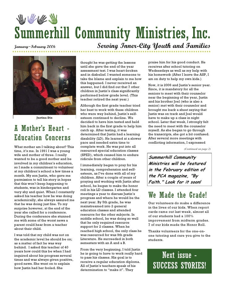 Summerhill Community Ministries, Inc. January~February 2006                             Serving Inner-City Youth and Famil...