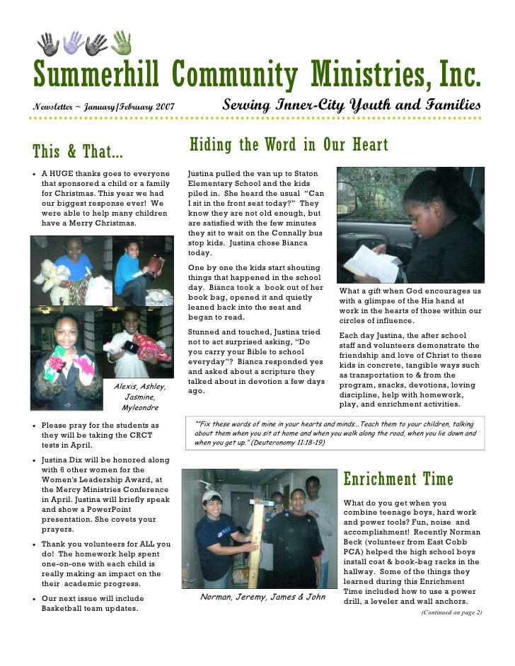 Summerhill Community Ministries, Inc. Newsletter ~ January/February 2007                  Serving Inner-City Youth and Fam...