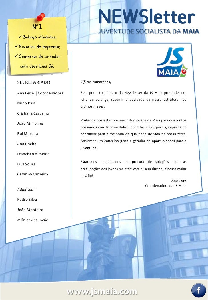 Nº1                                           JUVENTUDE SOCIALISTA DA MAIA Balanço atividades;Recortes de imprensa;Conv...