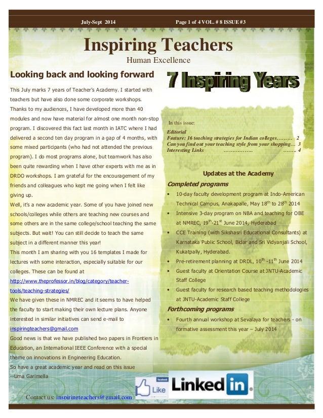 Inspiring Teachers Jul Sept 2014