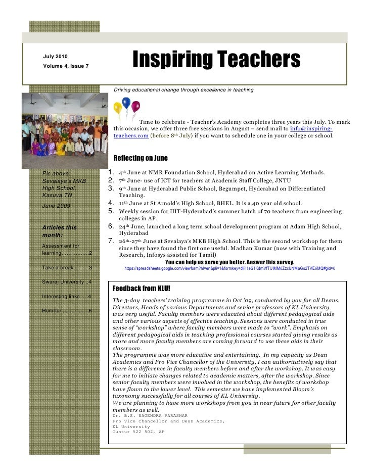 Inspiring Teachers July 2010